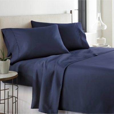blue white line textile sheets