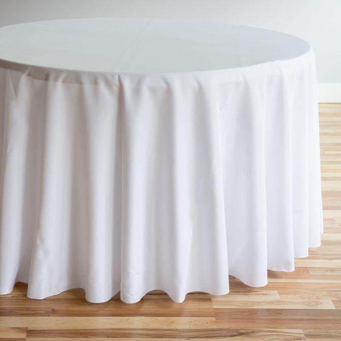 Round Tablecloth White Line Textile, Round White Tablecloth
